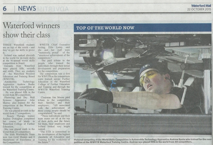 WWTS Students Success at World Skills Competition