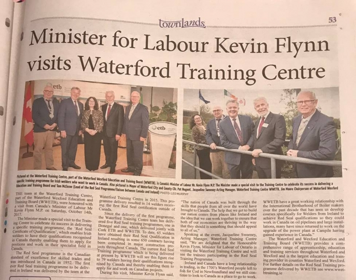 Minister for Labour Kevin Flynn Ontario Canada visits Waterford Training Centre